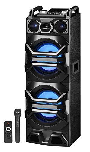 "Technical Pro Dual 10"" Speaker Tower Floor Standing Bluetooth Speaker, Floor Speakers for Home Stereo System or Home Theater Karaoke Machine System w/USB/SD/LED+Mic"