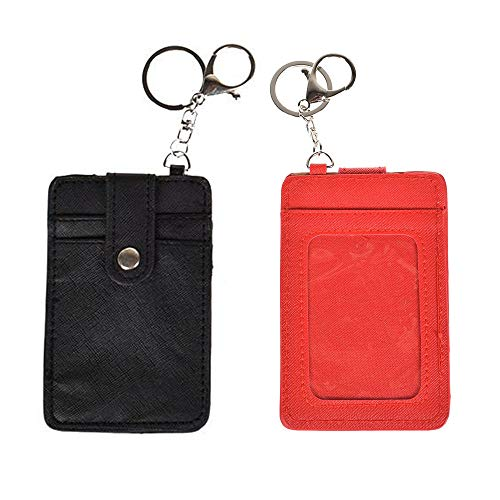 UTENEW 2 Pack Leather ID Badge Holder, Slim Credit Card Holder Pocket Wallets with Keychain, Minimalist Cards Case Purse, Black&Red
