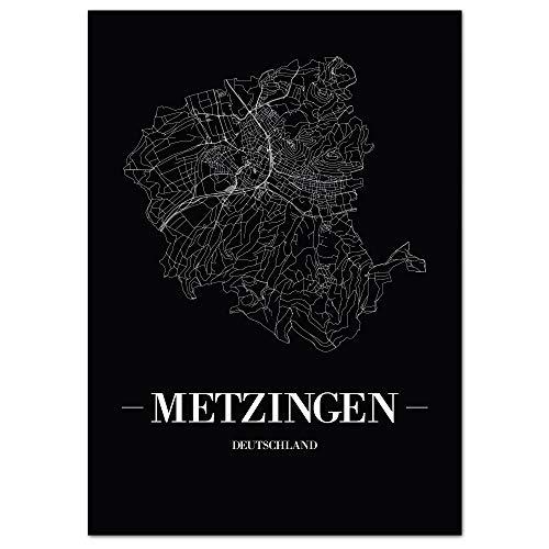 JUNIWORDS Stadtposter - Wähle Deine Stadt - Metzingen - 21 x 30 cm Poster - Schrift A - Schwarz