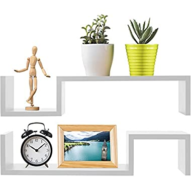 Greenco S Wall Mounted Floating Shelves Finish, 2-Pack, White