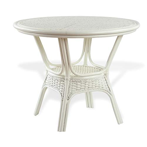 Alexa Round Dining Table White Color Natural Rattan Wicker Handmade Design