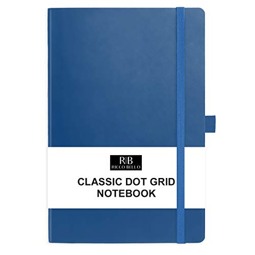 Ricco Bello Dotted Hardcover Bullet Style Lay Flat Journal Notebook, Vegan Leather Cover, Bookmark, Pen Loop, Storage Pocket, Elastic Band Closure, 5.7 x 8.4 Inches (Royal Blue)