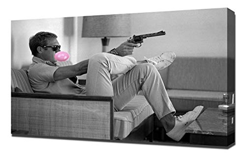 Lilarama Steve McQueen Roze Bubble Gum Kauwgom Muur Art Iconische Bubblegum Pop Art Home Décor - Canvas Art Print - Wall Art - Canvas Wrap