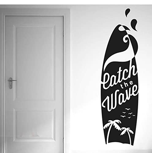 Catch The Wave, tabla de surf, pegatinas de pared, calcomanías artísticas de vinilo, silueta de gaviota de Coco, calcomanía deportiva para dormitorio, impermeable, 21x77cm