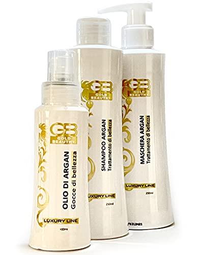 GoldBeauthy Maschera Capelli Ristrutturante Professionale Made in Italy Kit Ricostruzione Capelli Olio e Shampoo Lisciante Nutriente con Olio di Argan Senza Sale Biologico per Tutti i Tipi di Capelli