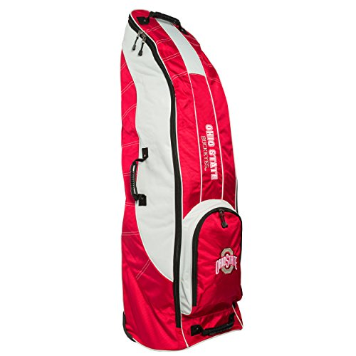 Team Golf NCAA Ohio State Buckeyes Travel Golf Bag, High-Impact Plastic Wheelbase, Smooth & Quite Transport, Includes Built-in Shoe Bag, Internal Padding, ID Card Holder