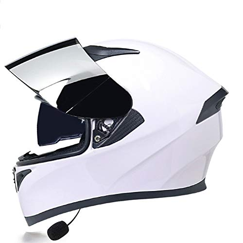 Casco integral Bluetooth Casco de motocicleta, Flip Up Casco motocicleta modular, intercomunicador por radio Casco con lente doble antivaho Cascos integrales Casco de scooter,ECE Homologado(Color:C,Si