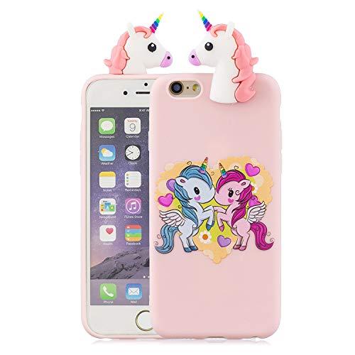 Funluna Funda iPhone 6S/6, 3D Unicornio Patrón Ultra Delgado TPU Cover Suave Silicona Carcasa Gel Anti-Rasguño Protectora Espalda Bumper Case para Apple iPhone 6S / iPhone 6, Pink