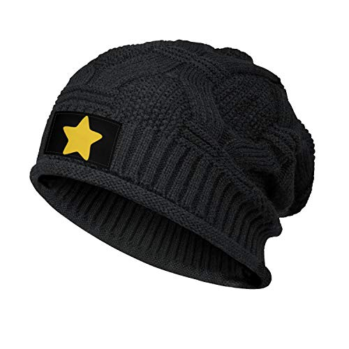 JIOJSDS Womens Mens Steven-Universe-Yellow-Star- Slouchy Beanie Hat Stretchy Baggy Knit Hats Black Skull Cap