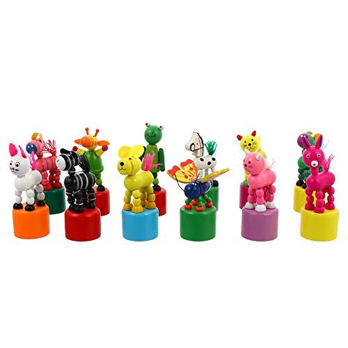NUOBESTY 12 Piezas de Juguete de Estatuilla de Animales de Madera Bailando Columpio Bailando Cuerpo Jirafa Marionetas de Dedo Empuja hacia Arriba Juguetes para Niños (Estilo Aleatorio)