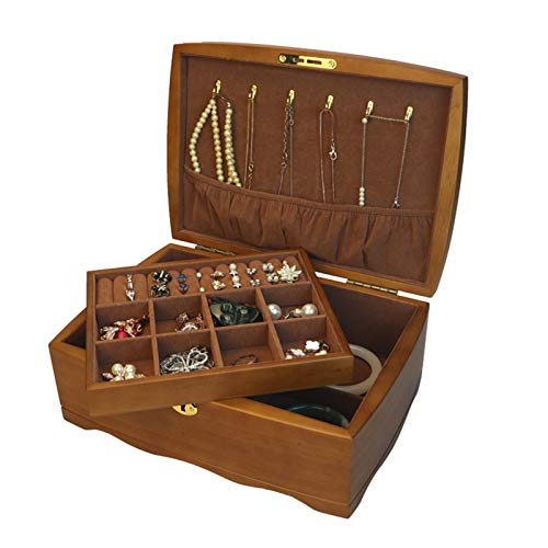 Caja Organizador Joyería Estuche de Almacenamiento Organizador de la caja de joyería de madera de la vendimia para las niñas de las mujeres, estuche de almacenamiento de la joyería bloqueable de 2 cap
