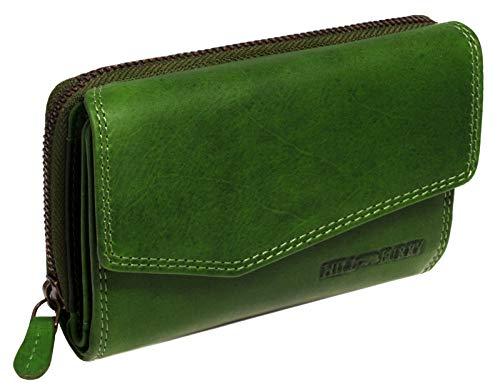 Hill Burry Damen Leder Geldbörse | Vintage Echt-Leder Portemonnaie mit vielen Fächern | Kompakte Geldbeutel - Portmonee (Grün)