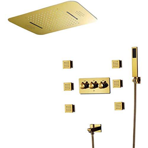 Doifck Sistemas de Ducha de Baño con Grifo de Agua Sistema de Ducha Musical Baño Iluminación LED Inteligente Rainbow Waterfall Termostático Juego de Grifería de Ducha Musical