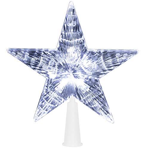 Springos - Puntale per albero di Natale a forma di stella, 10 LED con spina di alimentazione, luce fissa (bianco freddo)