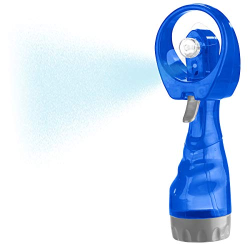 PEARL Handventilator: Hand-Ventilator mit Wassersprüher, 300 ml-Wassertank, Batteriebetrieb (Handventilator mit Sprühnebel)