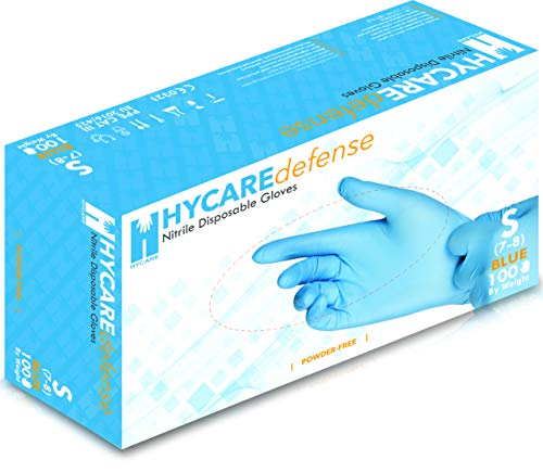 Hycare Medical Nitrile Powder Free Disposable Gloves Blue Size S (100 pieces)