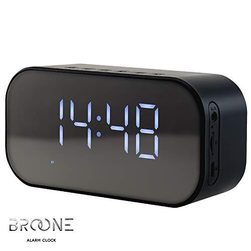 Broone C5 Altoparlante Bluetooth 5.0 Sveglia e Orologio Digitale Stereo Cassa portatile, Controllo Temperatura, Radio, Scheda TF 16GB, Ingresso Aux-In Compatibilità per iPhone Android e Tablet PC