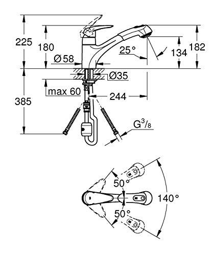 Grohe – Eurodisc Küchenarmatur, herausziehbare Spülbrause, schwenkbar, Chrom - 6