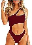 Inception Pro Infinite Costume Intero Femmina - Donna - Sexy - Monospalla - Mare - da Bagno - Aperto sulla Pancia - Femminile - Ragazza - Misura L - Rosso Bordeaux - Idea Regalo Originale