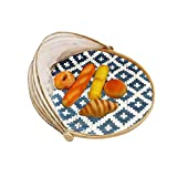 weemoment Hand-Woven Bamboo Food Serving Tent Basket, Fruit Vegetable Bread Cover Storage Container Outdoor Picnic Food Cover Mesh Tent Basket with Gauze(Bug- Proof, Dust-Proof) Keep Out Flies, Gifts