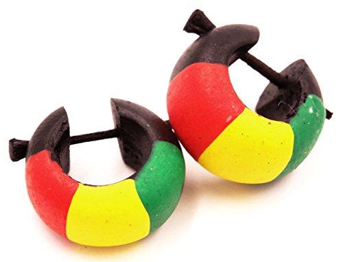 Pendientes de aro de madera, falsos dilatadores, de temática criolla, rasta, reggae, Bob Marley, Jamaica