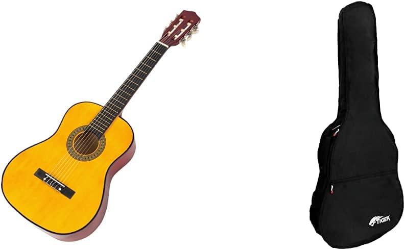Music Alley Guitarra Acústica Junior Clásica De 34 Pulgadas Para Niños + Tiger Ggb7-Mcl Funda Para Guitarra Clásica Tamaño 3/4, 92 X 38.99 X 11 Cm