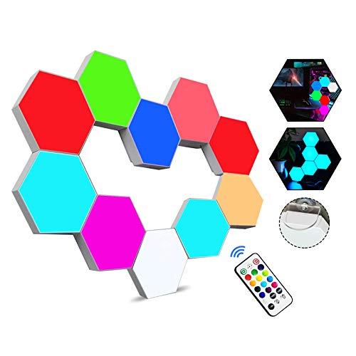 Sechseckige LED Wandleuchten mit Fernbedienung,Intelligente LED Lichtplatten RGB Gaming Lampe Touch-Steuerung Stimmungsbeleuchtung DIY Geometrie Spleißen Quantum Leuchte für Gaming/Party Deko,10 Stück