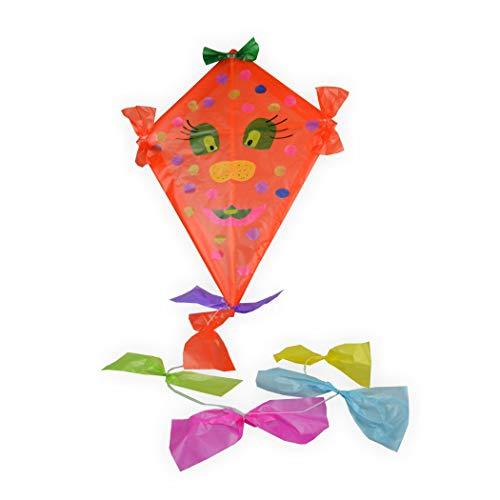 Drachen Bastelset mit viel Zubehör orange zum bemalen und bekleben Kinderleicht - Drachenbasteln wie früher mit Drachenpapier und Holzgestänge - Kinderdrachen Einleiner Top Preis