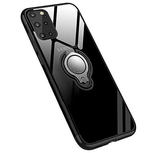Jaligel para carcasa Samsung Galaxy S20 Plus 360 ° anillo magnético soporte Ring funda Bumper TPU silicona transparente Case antigolpes delgada anti-tobogán funda - Negro