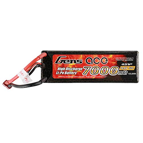 Gens ace b-50 C-7000 - 4s1p-hardcase-14 Lithium Polymer 7000 mAh 14.8 V Batterie Rechargeable - Batteries (7000 mAh, Lithium Polymer (Lipo), 14.8 V, Multicolore)