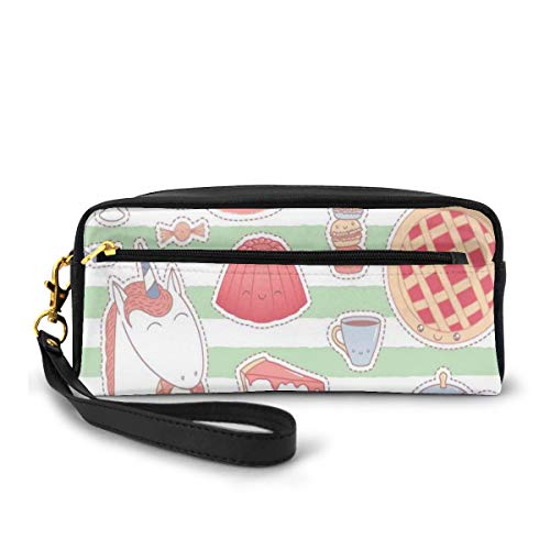 Pencil Case Pen Bag Pouch Stationary,Various Desserts in Cartoon Style Funny on Green Stripes Unicorn Eating Donut,Small Makeup Bag Coin Purse