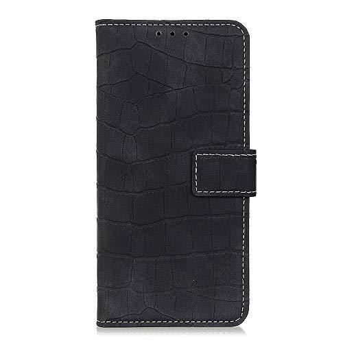 Fatcatparadise Kompatibel mit HTC D20 Pro Hülle + Displayschutz, Flip Wallet Case mit Kartenhalter und Magnetverschluss Krokodildesign PU Leder Hülle handyhülle (Schwarz)