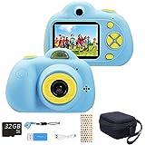 ToyZoom Cámara para niños, cámara Digital portátil para Selfies para niñas, videocámara para niñas, LCD de 2 Pulgadas / 1080P HD / 18MP /Tarjeta SD 32G incluida (Azul)