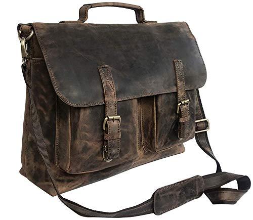 KK 's 45,7 cm Retro Buffalo Hunter Leder Laptop Messenger Bag Büro Aktentasche College Tasche Leder Tasche für Damen und Herren