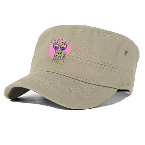 Gorra de béisbol con diseño de jirafa con gafas de arcoíris para hombre y mujer Beige natural Taille unique