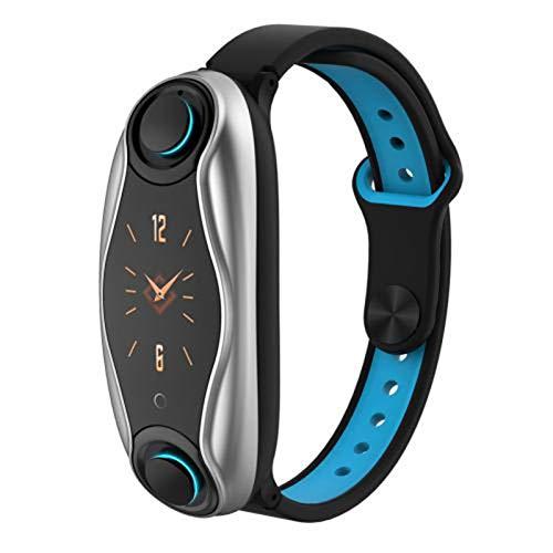 QKA Samrtband, Pulsera De Fitness, Auriculares Inalámbricos Bluetooth 2 En 1 Smartwatch, IP67 Impermeable, Presión Arterial, Reloj Deportivo Inteligente,A