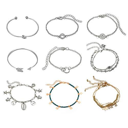 Armband fußkettchen, Vintage Pfeil/Krawattenknoten/Ringarmband und Herz/Blume/Schildkröte/Elefant/Seestern Elemente verstellbare Fußketten für Frauen (12 Stück)