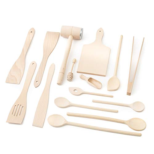 Tuuli Kitchen Wooden Kitchen Cooking Utensils 15 Piece Set (6X Cooking Spoon, 4X Spatula, Honey Dipper, BBQ Tongs, Chopping Board, Meat Tenderiser Hammer, Spice Spoon)