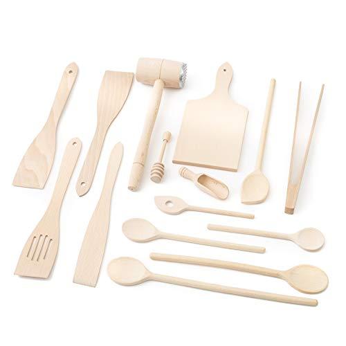 tuuli Kitchen Set de Utensilios Cocina Madera (6X Cuchara de Cocina, 4X espátula, Cuchara para Miel, Barbacoa Grill Pinza, Tabla de Cortar, Martillo de Carne, Cuchara para Especias)