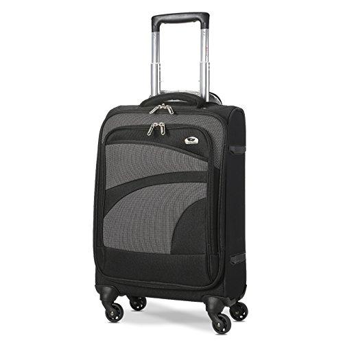 Aerolite Leichter 4 Rollen Handgepäck Trolley Koffer Bordgepäck Reisekoffer Gepäck Genehmigt für Ryanair, easyJet und viele mehr, Schwarz/Grau