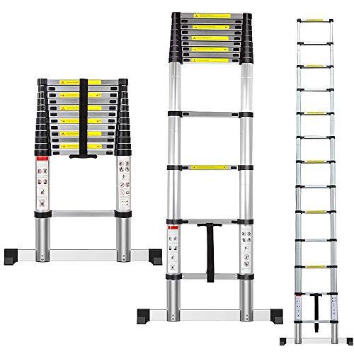 Échelle télescopique, escabeau telescopique, Alliage d'aluminium, Charge max 150 kg (3,8 m)