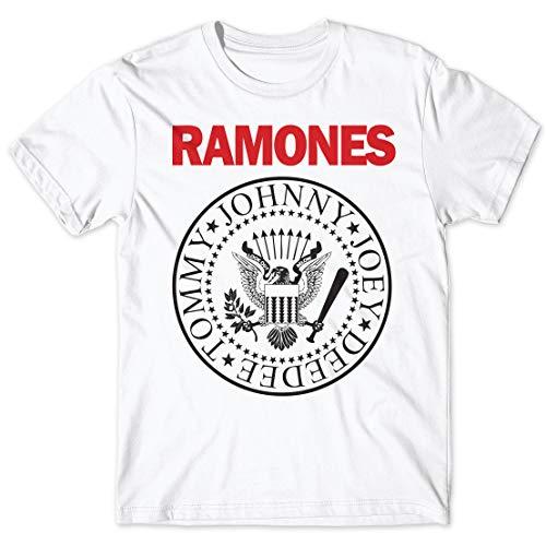 LaMAGLIERIA Herren-T-Shirt Ramones - Stampa Bicolore T-Shirt Punk Rock Logo 100% Baumwolle, XL, weiß