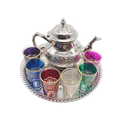 Juego de té marroquí, Tetera de Plata Alemana o Alpaca de 800 ml, Bandeja con Patas 32 cm y 6 Vasos de Colores