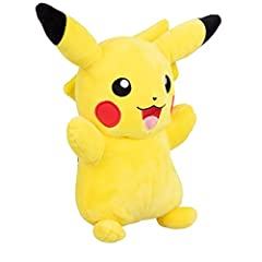"""Cute and cuddly 12"""" Pokémon Pikachu plush stuffed animal is a must have for all Pokémon fans! This Super soft plush figure is great to take wherever you go! The Pikachu plush toy is inspired by Pokémon anime, trading cards, Let's go! and Nintendo vid..."""
