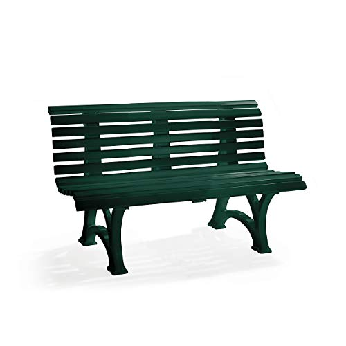 Parkbank aus Kunststoff – mit 13 Leisten – Breite 2000 mm, stahlblau – Bank Gartenbank Kunststoff-Bank Kunststoff-Bänke Ruhebank - 9