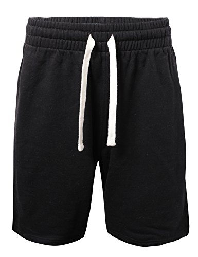 ProGo Men's Casual Basic Fleece Marled Shorts Pants with Elastic Waist (Black, X-Large)