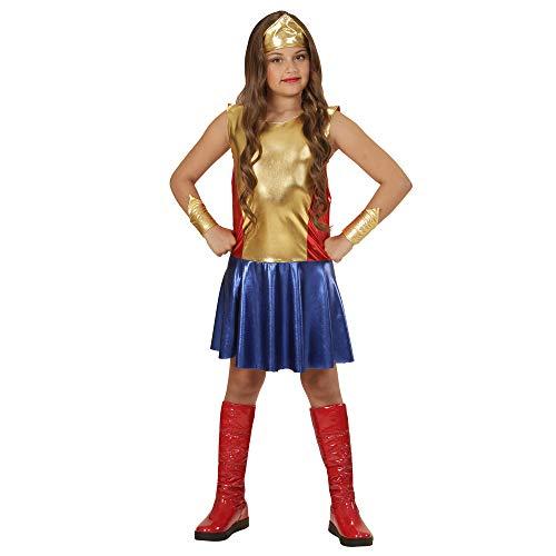 WIDMANN 01137?Disfraz para niños super hero Girl, vestido, puños y cabeza joyas