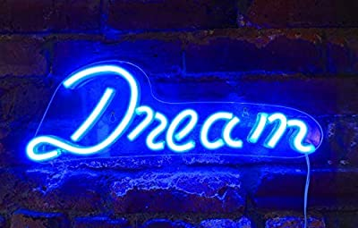 """Isaac Jacobs 17"""" by 6"""" inch LED Neon Blue """"Dream"""" Wall Sign for Cool Light, Wall Art, Bedroom Decorations, Home Accessories, Party, and Holiday Decor: Powered by USB Wire (Dream)"""