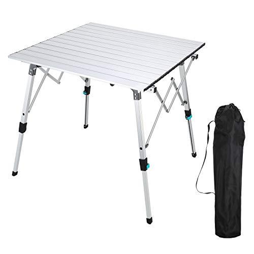 Synlyn Aluminium Klapptisch Faltbar Campingtisch Klappbar Tisch Falttisch mit Tasche Gartentisch bis 50 kg Tragkraft Höheneinstellbar Picknicktisch Multifunktionstisch für 4 Personen Größe 70x70cm