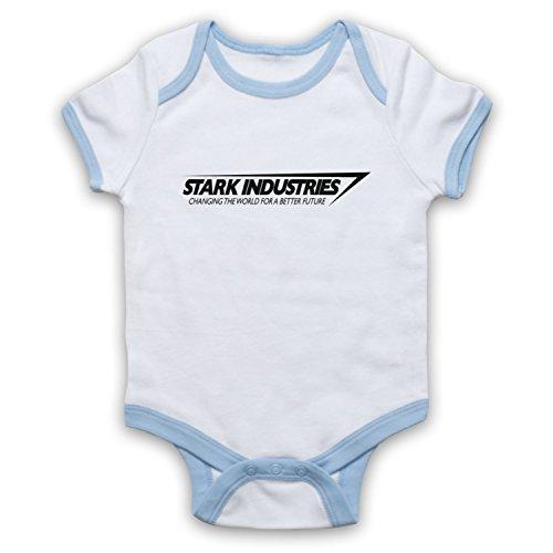 Inspirado por Iron Man Stark Industries No Oficial Bebé Body, Blanco & Azul Claro, 3-6 Meses